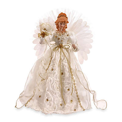 Vickerman 18-Inch Angel with Fiber Optic Wings in White and Gold