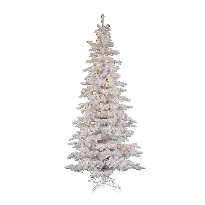 Alternate image 1 for Vickerman Flocked White Slim Pre-Lit Christmas Tree with Clear Lights