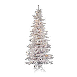 Vickerman Flocked White Slim Pre-Lit Christmas Tree with Clear Lights