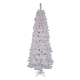 Vickerman 6.5-Foot White Salem Pine Pre-Lit Pencil Christmas Tree with Frosted White Lights
