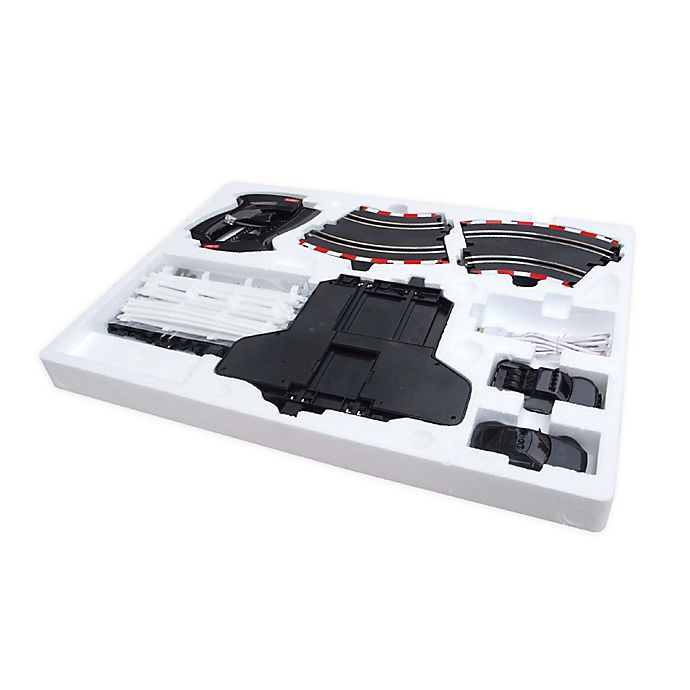 Alternate image 1 for SUPER 152 1/43 Scale USB Power Slot Police Car and Truck Racing Set