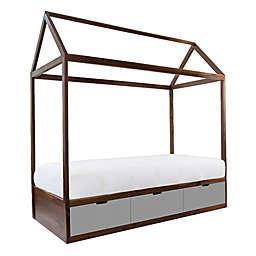 Nico & Yeye Domo Zen Twin Canopy Bed with Drawers in Walnut/Grey