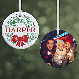 Merry Mistletoe Wreath 2.85-Inch Glossy 2-Sided Personalized Ornament
