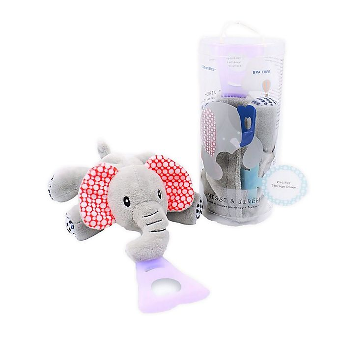 Alternate image 1 for Nissi & Jireh® Elephant 4-in-1 Teething Toy and Detachable Pacifier Holder