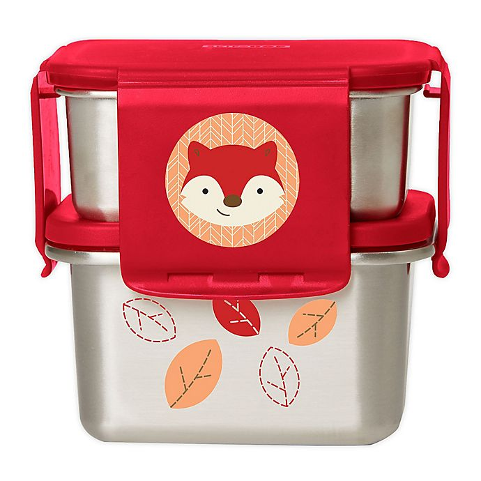 Alternate image 1 for SKIP*HOP® Zoo® Fox Stainless Steel Lunch Container Kit in Red