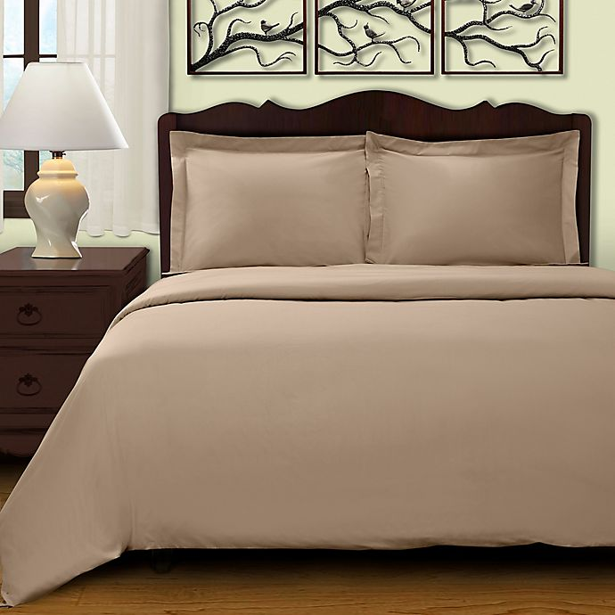 Alternate image 1 for Cochran Solid 2-Piece Twin Duvet Cover Set in Tan