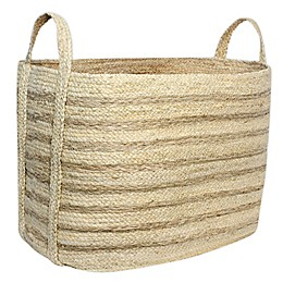 Taylor Madison Designs® Rectangular Natural Braided Maize Basket with Seagrass Stripes