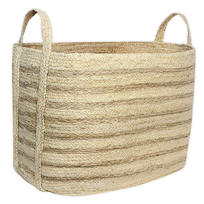 Alternate image 1 for Taylor Madison Designs® Rectangular Natural Braided Maize Basket with Seagrass Stripes