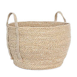 Taylor Madison Designs® Large Round Rush Basket with Braided Jute Handles