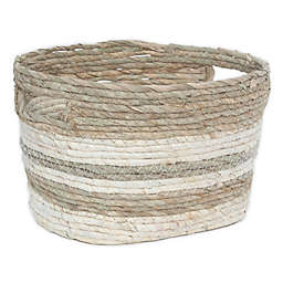 Taylor Madison Designs® Small Oval Seagrass and Maize Striped Basket