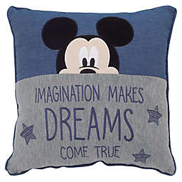 "Disney ""Dreams Come True"" Mickey Decorative Pillow in Navy"