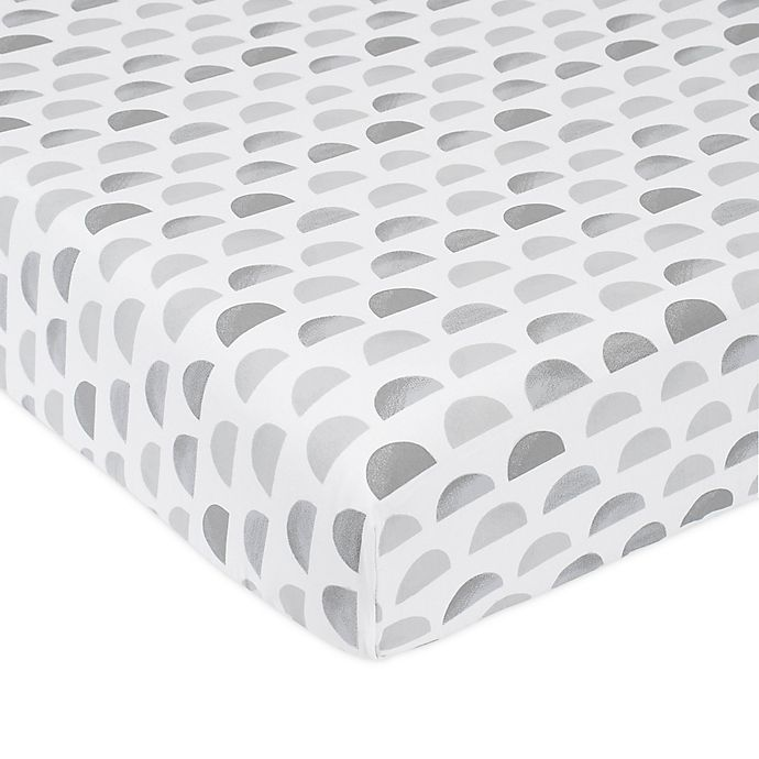 Alternate image 1 for just born® Dream Ombre Moon Fitted Crib Sheet in Grey