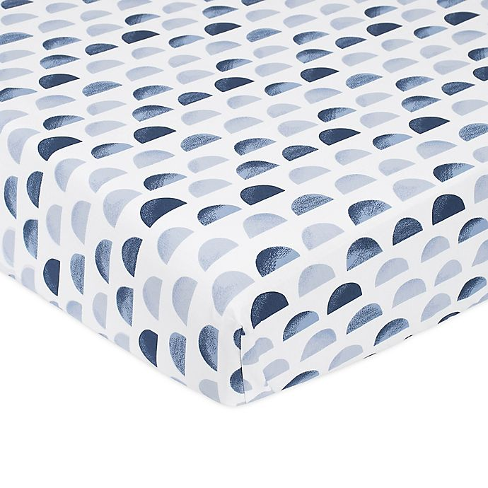 Alternate image 1 for just born® Dream Ombre Moon Fitted Crib Sheet in Blue