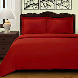 Cochran Solid 2-Piece Twin Duvet Cover Set in Burgundy