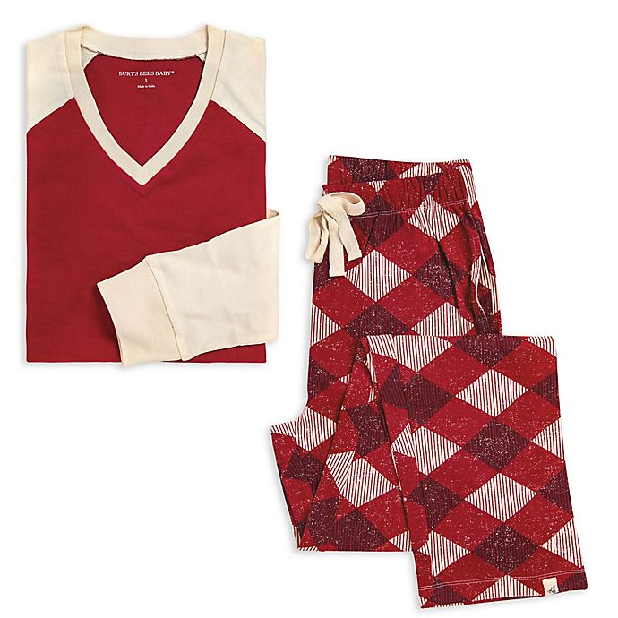Alternate image 1 for Burt's Bees Baby® Men's 2-Piece Abstract Argyle Organic Cotton Pajama Set