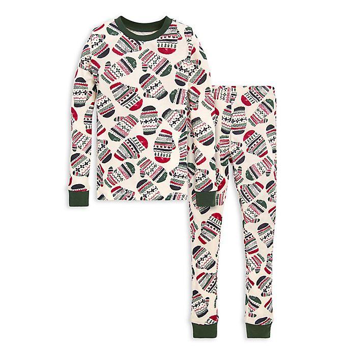 Alternate image 1 for Burt's Bees Baby® Merry Mittens Big Kids 2-Piece Organic Cotton Pajama Set