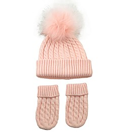 NYGB™ 2-Piece Micro Cable Pom Hat and Mitten Set in Pink