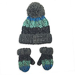 Toby Fairy™ 2-Piece Tri-Color Yarn Pom Hat and Mittens Set in Blue