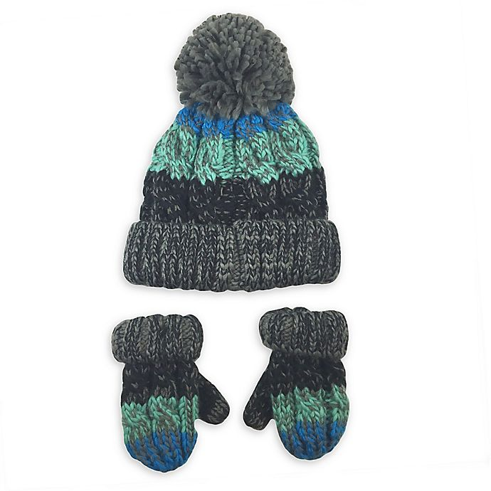 Alternate image 1 for Toby Fairy™ 2-Piece Tri-Color Yarn Pom Hat and Mittens Set in Blue