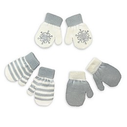Toby Fairy 3-Pack Silver Snowflake Gripper Mittens in Ivory