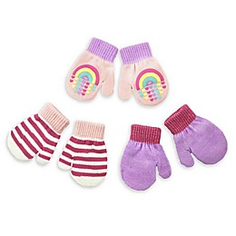Toby Fairy 3-Pack Rainbow Hearts Gripper Mittens in Pink