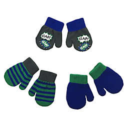 Toby Fairy 3-Pack Blue Clap Clap Gripper Mittens in Grey