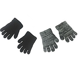Toby Fairy 2-Pack Grey Marbled Textured Gloves in Black