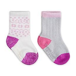 Cuddl Duds® 2-Pack Fair Isle Crew Socks in Pink
