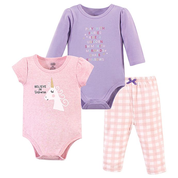 Alternate image 1 for Luvable Friends Size 0-3M 3-Piece Unicorn Layette Set in Purple