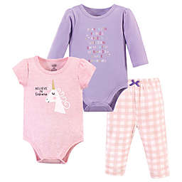 Luvable Friends Size 0-3M 3-Piece Unicorn Layette Set in Purple