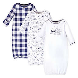 Touched by Nature 0-6M 3-Pack Arctic Organic Cotton Gowns in White