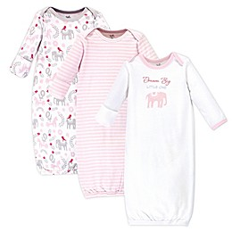 Touched by Nature 0-6M 3-Pack Tribal Elephant Organic Cotton Gowns in Pink