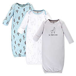 Touthced by Nature Lllama Preemie 3-Pack Organic Cotton Gowns in Green