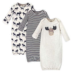 Touched by Nature Moose Preemie 3-Pack Organic Cotton Gowns in Brown