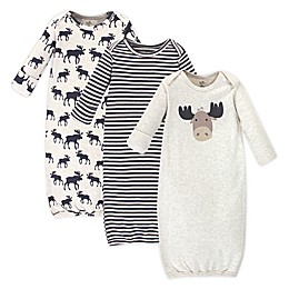 Touched by Nature Moose Size 0-6M 3-Pack Organic Cotton Gowns in Brown