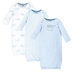 Touched by Nature Whale Size 0-6M 3-Pack Organic Cotton Gowns in Blue