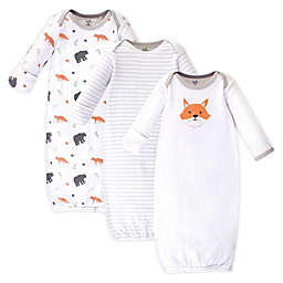 Touched by Nature Fox Size 0-6M 3-Pack Organic Cotton Gowns in White