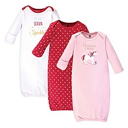 Hudson Baby® Size 0-6M 3-Pack Red Magical Gowns in Red
