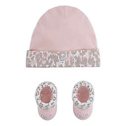 Nike® 2-Piece Leopard Print Hat and Booties Set in Pink