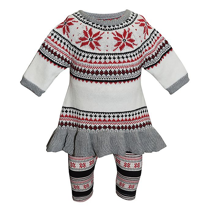 Alternate image 1 for Blueberi Boulevard 2-Piece Snowflake Sweater and Legging Set