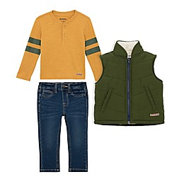 Hudson® 3-Piece Vest, Henley, and Jean Set in Green/Yellow