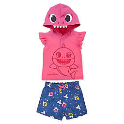 Pink Fong Baby Shark 2-Piece Hooded Shirt and Short Set in Pink