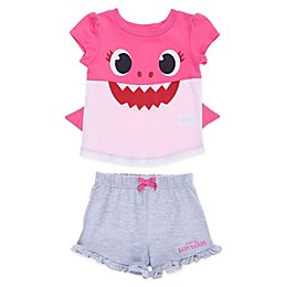 Baby Shark 2-Piece Shirt with Fins and Short Set in Pink
