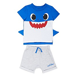 Baby Shark 2-Piece Shirt with Fins and Short Set in Blue