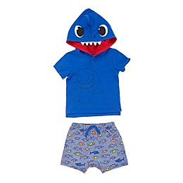 Pink Fong 2-Piece Baby Shark Hoodie and Short Set
