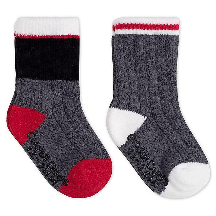 Alternate image 1 for Cuddl Duds® 2-Pack Crew Socks in Black/Red