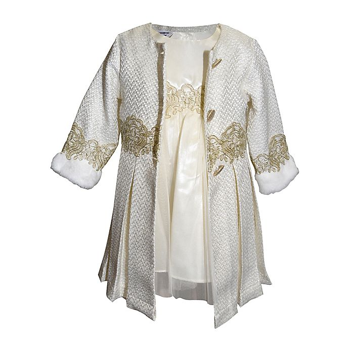 Alternate image 1 for Blueberi Boulevard® 2-Piece Embroidered Coat and Dress Set in Ivory
