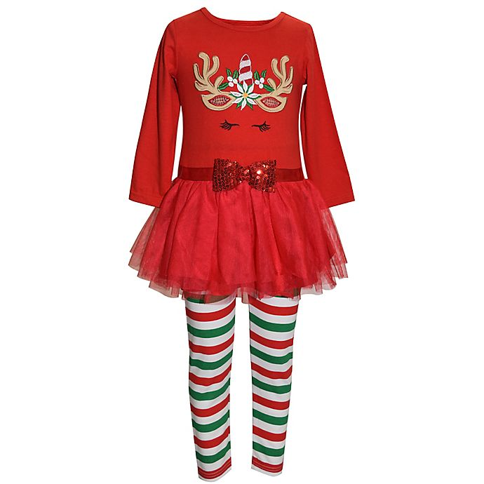 Alternate image 1 for Blueberi Boulevard® 2-Piece Holiday Unicorn Top and Legging Set in Red