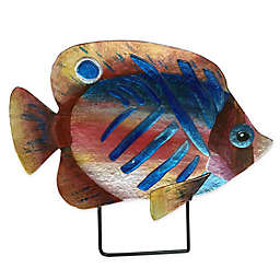 Jasmine Art Glass Tropical Fish Sculptural Plate in Red/Blue
