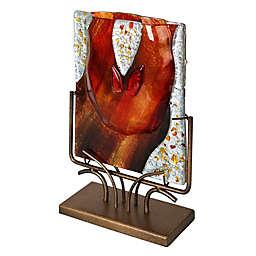 Jasmine Art Glass 13-Inch Ruby Red Running River Vase